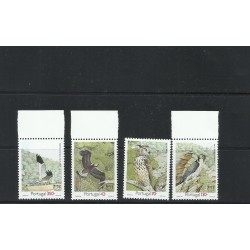 O) 1993 PORTUGAL, AMERICA UPAEP, CLARAVIS, AQUILA ADALBERTI, BUBO BUBO, FALCO PREGRINUS, BIRDS AN ENDANGERED SPECIES, SET MNH