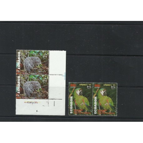 O) 1993 ECUADOR, AMERICA UPAEP, RODENT-DINOMYS BRANICKII,ARA SEVERUS, ANIMALS IN DANGER OF EXTINCTION, MNH