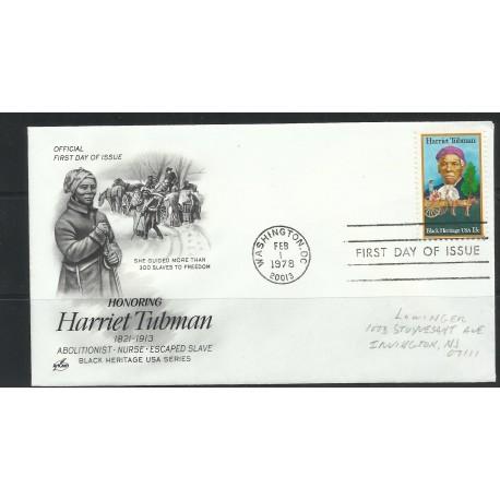 O) 1978 UNITED STATES -USA- HARRIET TUBMAN - ABOLITIONIST-NURSE-ESCAPED SLAVE, FDC XF