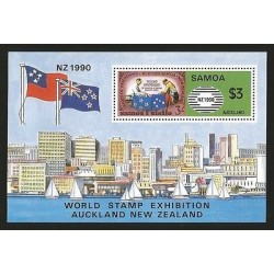 O) 1990 SAMOA, WORLD STAMP EXHIBITION AUCKLAND, TREATY OF FRIENDSHIP WESTERN, S