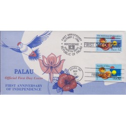 B)1995 PALAU, FAUNA, ANIMALS, ORCHID, MARINE LIFE, BIRDS, INDEPENDENCE, 1ST ANNIV. PAIR OF 2, FDC