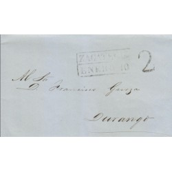 RG)1852 MEXICO, ZACATECAS BLACK BOX, 2 REALES BLACK MARK, CIRCULATED COMPLETE LETTER TO DURANGO, XF