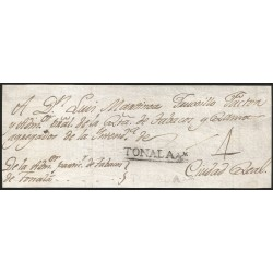 RG)1803 MEXICO, COLONIAL MAIL, TONALA LINEAL CANC. IN BLACK, MANUSCRIPT 4 REALES, CIRCULATED FRONT COVER TO CIUDAD REAL, XF