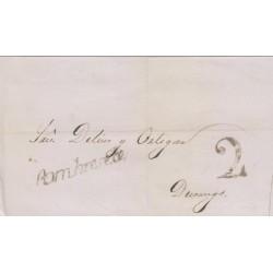 RG)1846 MEXICO, FRANCO EN SOMBRERETE SELLO NEGRO, 2 REALES BALCK MARK, CIRCULATED COVER TO DURANGO, XF