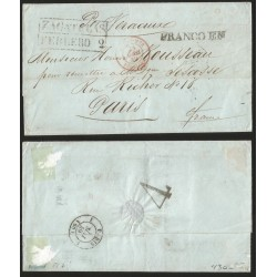 """RG)1849 MEXICO, """"FRANCO EN"""" LINEAL MARK & ZACATECAS BLACK BOX, 4 REALES INLAND POSTAGE PREPAID ON THE BACK, PAUL"""