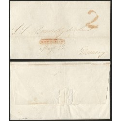 RG)1844 MEXICO, 2 REALES AND SAN DIMAS LINEAL RED CANC., CIRCULATED COVER TO DURANGO, XF