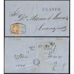 G)1866 MEXICO, 25C BUFF, QUERETARO CONS 03-1866 (ERROR FOR 33-1866)SUB 36. LARGE MARGINS, VALLE DE SANTIAGO & FRANCO SEALS, CIRC