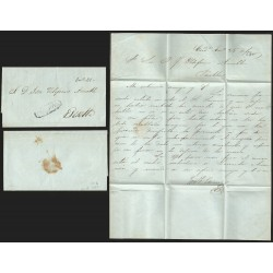 RG)1850 MEXICO, CORDOVA BLACK CANC., CIRCULATED COMPLETE LETTER TO PUEBLA, XF