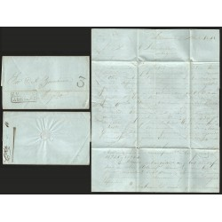 RG)1848 MEXICO, ZACATECAS BLACK BOX, 3 REALES, CIRCULATED COMPLETE LETTER TO MEXICO, XF