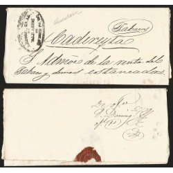 G)1850 MEXICO, QUERETARO & 2 REALES IN RED, AMON GRAL TABACOS SEAL, CIRCULATED COVER TO CADEREITAS, XF