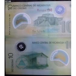 O) 2012 NICARAGUA, BANKNOTES, CASTLE, RANCH, 10 CORDOBAS, POLYMER, UNCIRCULATED