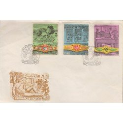 B)1970 CARIBE, INDUSTRY, PEOPLE, EDEN CIGAR BAND, FACTORY, El MAMBI BAND, PACKING CIGARS LOPEZ HERMANOS BAND,MULTIPLE, FDC