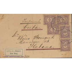 B)1898 NETHERLAND, 1/2 CENT, VIOLET, SC 55 A10, CIRCULATED COVER FROM NETHERLAND TO CUBA, MULTIPLE, XF