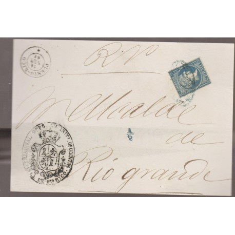 O) 1860 PUERTO RICO, SPANISH DOMINION, SEAL TRIBUNAL SUPREMO DE CUENTAS,1/2 REAL PLATA, ISABEL 11,COVER TO RIO GRANDE,XF