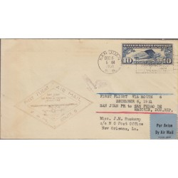 O) 1931 PUERTO RICO, US OCCUPATION, FIRST FLIGHT - SAVE TIME, LINDBERGH10 CENTS, AIRPLANE, COVER TO NEW ORLEANS, XF