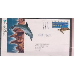 O) 1994 AUSTRALIA, DOLPHI, TURTLE, POSTAL STATIONARY TO CANADA, XF