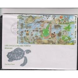 E) 1993 PALAU, LIFE CYCLE OF THE SEA TURTLE, FDC, MNH
