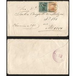 G)1882 MEXICO, NICE COMBINATION, 4082 CHIAPAS, COMITAN GREEN OVAL CANC., ESTAFETA DE MEXICO CIRCULAR VIOLET