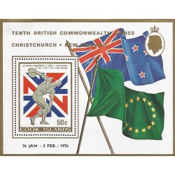 B)1974 COOK ISLANDS, GAMES, FLAGS, TENTH BRITISH COMMONWEALTH GAMES, CHRISTCHURCH - NEW ZEALAD, MNH