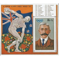 B)1972 COOK ISLANDS, GAMES, PLAY, OLIMPIC GAMES, MUNICH 72` , MUNICH PIERRE DE COUBERTIN, SOUVENIR SHEET, MNH