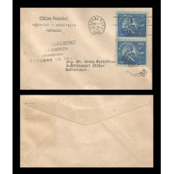 B)1948 CARIBE, MOTHER AND CHILD, WITHDRAWAL OF COMMUNICATIONS, CIRCULATED COVER FROM MATANZAS, XF