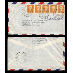 B)1953 NETHERLAND, QUEEN, ROYALTY, QUEEN JULIANA, MULTIPLE, AIRMAIL, CIRCULATED COVER FROM NETHERLAND TO MEXICO, XF