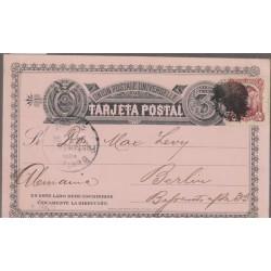 O) 1891 ECUADOR, POSTAL STATIONARY - REPUBLIQUE DE LEQUATEUR -FRANCE, 3 CENTAVOS DE SUCRE, 2 CENTAVOS, TO BERLIN