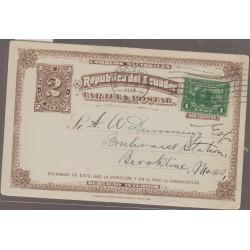 O) 1914 ECUADOR, DISCOVERER VASCO NUÑEZ DE BALBOA 1513 PACIFIC OCEAN, SERVICIO INTERIOR 2 CENTAVOS, HUDSON TERMINAL
