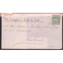 O) 1868 ECUADOR, 1 REAL GREEN, JUDICIAL MAIL,FRONT COVER FROM QUITO TO RIO BAMBA WITH EXTRAORDINARY MARGINS XF