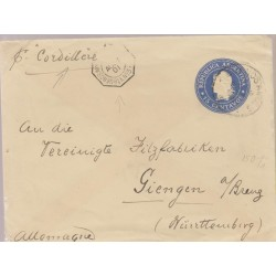 O) 1901 ARGENTINA, LIBERTY HEAD - 15 CENTAVOS BLUE, POSTAL STATIONARY CIRCULATED BY PAQUEBOT FRENCH BUENOS AYRES TO GERMANY, XF