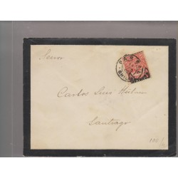 O) 1904 CHILE, 5 CENTAVOS RED-COAT OF ARMS, FROM PARRAL TO SANTIAGO ON A MOURNING LETTER, XF
