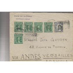 O) 1918 CHILE, 1 CENTAVO CHRISTOPHER COLUMBUS-COLON, 10 CENTAVOS, MULTIPLE CIRCULATED, TO VERSAILLES-FRANCE, XF