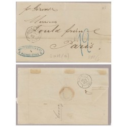 O) 1871 ARGENTINA, COVER MARITIME TO PARIS, BY THE FRENCH PAQUEBOT BUENOS AYRES, FORWARD AGENT WOLFF WISSNER AND CA, XF