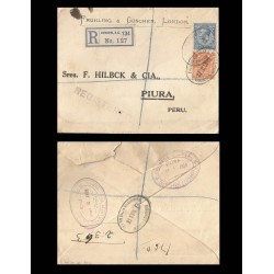 B)1919 GREAT BRITAIN, KING GEORGE VI, CIRCULATED COVER FROM GREAT BRITAIN TO PERU, XF