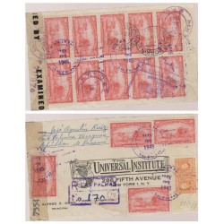 O) 1945 PANAMA, CARRIAGE OF OX - 2 CENTIMOS, HAULING SUGARCANE, MULTIPLE COVER OBVERSE AND REVERSE, XF