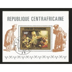 B)1981 CENTRAL AFRICAN REPUBLIC, PAINTING, ART, REMBRANDT PAINTING, BELSHAZZAR'S FEAST, SC C244 AP81, SOUVENIR SHEET, MNH