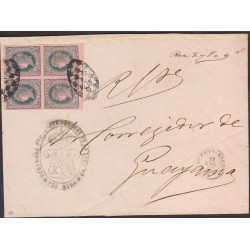 O) 1867 PUERTO RICO, 1/2 REAL PLATA F.-ISABEL II-BLOCK FOR 4 IMPERFORATED, JUDICIARY LETTER WITH VIOLET ON ROSE STRIP,  SPANISH