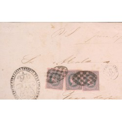 O) 1867 PUERTO RICO, 1/2 REAL PLATA F.-ISABEL II,JUDICIARY LETTER, WITH VIOLET ROSE, SPANISH DOMINION, XF