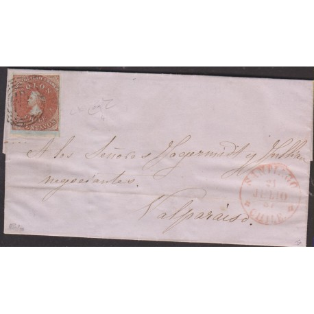 O) 1857 CHILE, 5 C. RED ON BLUISH PAPER, COMPLETE LETTER, TO VALPARAISO, 4 MARGINS USUALLY, EXTRAORDINARY CONDITION-XF