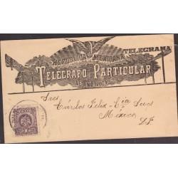 O) 1910 MEXICO, TELEGRAMA, WITH PORFIRIO EAGLE STAMPS - 1 CENTAVO, TELEGRAFO PARTICULAR DE AÑO NUEVO, XF