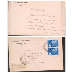 O) 1939 ARGENTINA, XI UPU CONGRES, LETTER REGISTERED TO SWITZERLAND, INCLUIDING THE INVITATION LETTER, COAT OF ARMS-1 C.