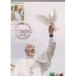 O) 2016 MEXICO, POPE FRANCISCO - MARIO BERGOGLIO, VISIT TO MEXICO, DOVE MEANING THE HOLY SPIRIT, MAXIMUM CARD XF