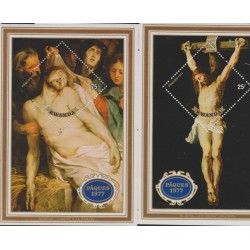 B)1977 RWANDA, PAINTING, FAITH, RELIGION, DESCENT FROM THE CROSS, BY RUBENS, CRUCIFICION, SC 799 A112, MNH