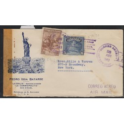 O) 1943 EL SALVADOR, COFFEE, NATIONAL FLOWER, IZOTE -LILIACEO -ELEPHANTIPES, STATUE OF LIBERTY, COVER TO USA