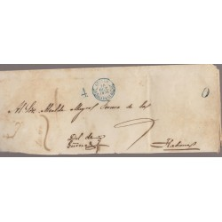 O) 1856 CARIBE, PRESTAMP BAEZA GUINES IN BLUE, COVER TO HAVANA, XF