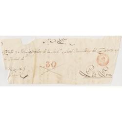 O) 1845 CARIBE, PRESTAMP BAEZA SANTIAGO IN RED -30 REALES,