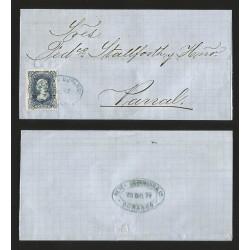 G)1877 MEXICO, 25 CTS. 13 77 DURANGO, FRANCO EN DURANGO BLUE OVAL CANC., COMERCIAL OVAL BLUE SEAL AT THE BACK, CIRCULATED COVER