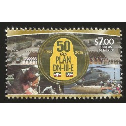 G)2016 MEXICO, ARMY-AIR FORCE-HELICOPTER, 50 YEARS OF DN-III-E (RELIEF PLAN CIVILIANS DESASTER), MNH