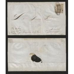 G)1862 MEXICO, 2 REALES MEXICO, OVAL BLACK CANC. DILIGENCIAS CUERNAVACA, CIRCULATED COVER TO MEXICO, XF