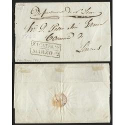 RG)1842 MEXICO, ZACATECAS DATED BOX, CIRCULATED COVER TO COMERCIO DE LINARES, VF